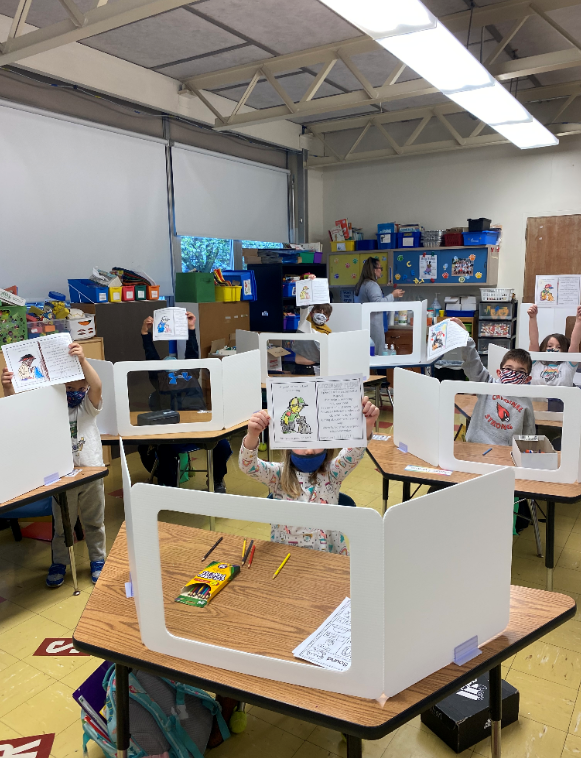 kindergarten students working